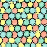 Безшовная картина, формы круга doodle стоковая фотография rf