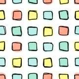 Безшовная картина, формы doodle квадратные в свободной решетке Стоковые Изображения