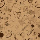 Безшовная картина фруктов и овощей Стоковое фото RF