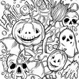 Безшовная картина хеллоуина с элементами ужаса Стоковое Изображение