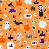 Безшовная картина хеллоуин Стоковое Изображение