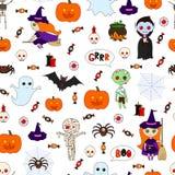 Безшовная картина хеллоуин Стоковое Фото