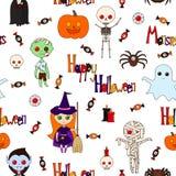 Безшовная картина хеллоуин Стоковое Изображение RF