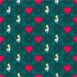 Безшовная картина цвета с сердцами Стоковое Изображение RF