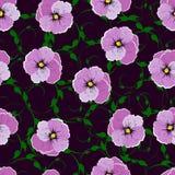 Безшовная картина, цветки против темной предпосылки Стоковое Изображение RF