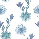 Безшовная картина цветков акварели Рука покрасила цветки на белой предпосылке Цветки для дизайна Цветки орнамента Безшовный bo иллюстрация штока