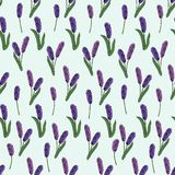 Безшовная картина цветков весны на голубой предпосылке r иллюстрация вектора