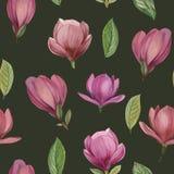Безшовная картина цветков и листьев магнолии бесплатная иллюстрация