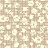 Безшовная картина чая с сладостной едой иллюстрация вектора