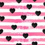Безшовная картина, черные сердца на нашивках чернил иллюстрация вектора