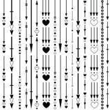 Безшовная картина черных вертикальных стрелок, сердец и кругов иллюстрация штока