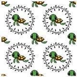 Безшовная картина шаржа черепахи иллюстрация вектора