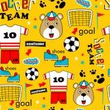 Безшовная картина, шарж друга футбольной команды смешной животный, иллюстрация вектора стоковые фотографии rf