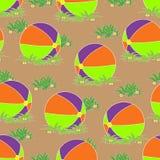 Безшовная картина, шарик на траве Стоковые Фотографии RF