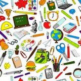 Безшовная картина школьных принадлежностей Стоковая Фотография RF