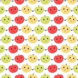 Безшовная картина яблок также вектор иллюстрации притяжки corel Справочная информация Стоковое Изображение RF