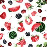 Безшовная картина ягод лета, в акварели Стоковое Изображение