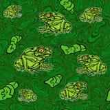 Безшовная картина лягушки Стоковое фото RF