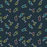 Безшовная картина для коктеиля алкоголички меню бара Vector линия чертеж питья на предпосылке Стоковая Фотография