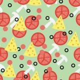 Безшовная картина для отбензиниваний пиццы Стоковые Фото