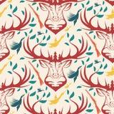Безшовная картина для охотиться тема олени, утка, оружие, птица Стоковые Изображения