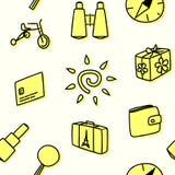 Безшовная картина для путешествовать в желтом цвете также вектор иллюстрации притяжки corel Стоковое Изображение RF