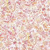 Безшовная картина doodle акварели иллюстрация вектора