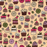 Безшовная картина doodle нарисованного рукой испечет, десерты Стоковые Фотографии RF