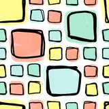 Безшовная картина, doodle придает квадратную форму dhapes в решетке Стоковые Фотографии RF