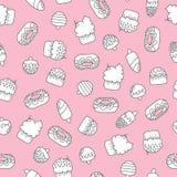 Безшовная картина doodle с мороженым и тортами иллюстрация штока