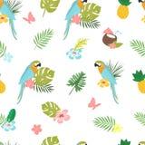 Безшовная картина doodle шаржа вектора Экзотическая тропическая текстура для печатать, веб-дизайн, шаблон плаката Собрание  Стоковые Изображения