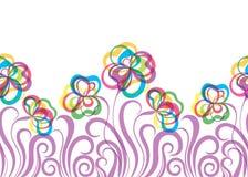 Безшовная картина EPS10 с абстрактными цветками Стоковое Фото
