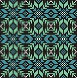 Безшовная картина knitwear снежинки, предпосылка рождества зимы, карточка Схема для вышивки крестиком и вязания крючком Стоковые Изображения RF