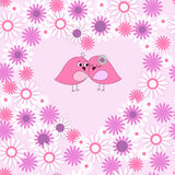 Безшовная карточка с птицами в влюбленности иллюстрация вектора