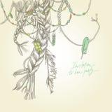 Безшовная карточка с girlish оплетками, волосами, ветром и пер бесплатная иллюстрация