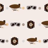 Безшовная квадратная картина с аксессуарами steampunk любит старомодный дирижабль, стекла авиатора и часы вахты на бежевом backgr иллюстрация штока