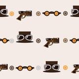 Безшовная квадратная картина с аксессуарами steampunk любит старомодный револьвер, шляпа с стеклами авиатора и изумлённые взгляды иллюстрация штока