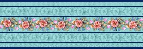 Безшовная классическая граница цветка с флористической предпосылкой иллюстрация штока
