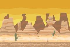 Безшовная концепция природы кактуса дороги пустыни плоская Стоковое Изображение