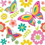 Безшовная красивая картина бабочки и цветков Стоковые Фотографии RF
