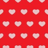 Безшовная красная картина с сердцами вектор иллюстрация вектора