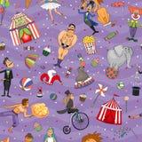 Безшовная красочная картина предпосылки цирка Стоковые Изображения