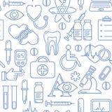Безшовная медицинская предпосылка с линией значками стиля голубыми на белизне Медицина и здоровье конструируют картину с современ Стоковое Изображение RF