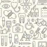 Безшовная медицинская предпосылка с линией значками стиля на белизне Медицина и здоровье конструируют картину с современными лине Стоковое Фото