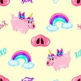 Безшовная милая картина единорога свиньи с радугой и слова на желтом небе Печать младенца caracter руки мультфильма вычерченное иллюстрация вектора