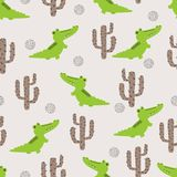 Безшовная милая картина крокодила и кактуса иллюстрация штока