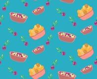 Безшовная милая картина еды пастельного цвета Стоковые Фото