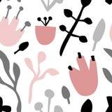 Безшовная милая картина с флористическими элементами в пастельных цветах Стоковое Изображение RF