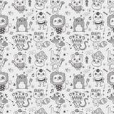 Безшовная милая предпосылка картины изверга doodle бесплатная иллюстрация