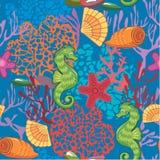 Безшовная морская картина на голубой предпосылке иллюстрация штока